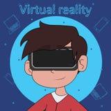 Jongen met VR-hoofdtelefoon Virtuele werkelijkheid voor onderwijs en spelen Stock Fotografie