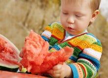 Jongen met watermeloen Stock Fotografie