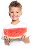 Jongen met watermeloen Stock Afbeelding