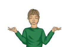Jongen miditiruet Het kind is bezig geweest met yoga Nuttig voor gezondheid Stock Foto's