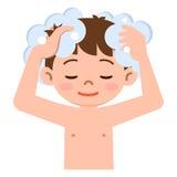 Jongen om het haar met shampoo te wassen royalty-vrije illustratie