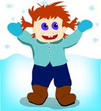 Jongen onder de sneeuw Stock Foto