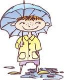 Jongen onder een paraplu stock illustratie