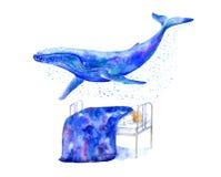 Jongen op bed en blauwe vinvis watercolor vector illustratie