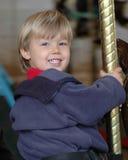 Jongen op Carrousel Royalty-vrije Stock Foto