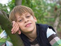 Jongen op de boom Stock Afbeeldingen