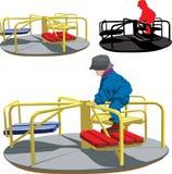 Jongen op de carrousel royalty-vrije illustratie