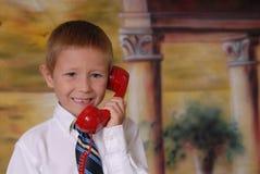 Jongen op de Telefoon Stock Foto's