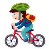 Jongen op een fiets   Stock Afbeeldingen