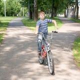 Jongen op een fiets Stock Fotografie