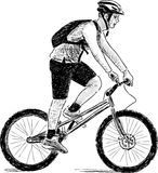 Jongen op een fiets Stock Afbeelding