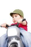 Jongen op een motorfiets. Royalty-vrije Stock Foto's