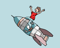 Jongen op een raket Royalty-vrije Stock Afbeeldingen