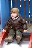 Jongen op een speelplaats. Royalty-vrije Stock Fotografie