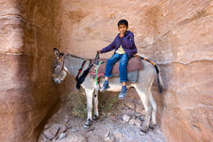 Jongen op ezel royalty-vrije stock foto