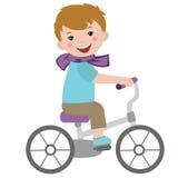 Jongen op fiets Stock Foto
