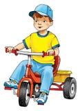 Jongen op fietstekening stock foto's
