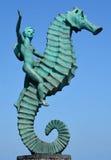 Jongen op Seahorse Royalty-vrije Stock Foto