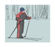 Jongen op skis in het de winterhout vector illustratie