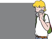 Jongen op telefoon stock illustratie