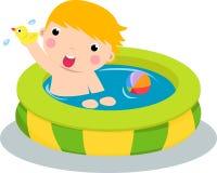 Jongen in opblaasbare pool royalty-vrije illustratie