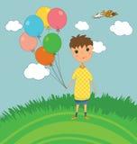 Jongen in openlucht met Ballons Royalty-vrije Stock Foto