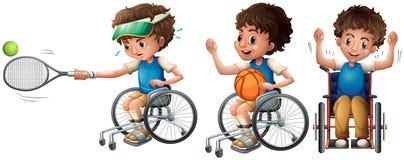 Jongen in rolstoel speeltennis en basketbal stock illustratie