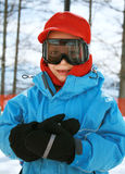 Jongen in skibeschermende brillen royalty-vrije stock fotografie