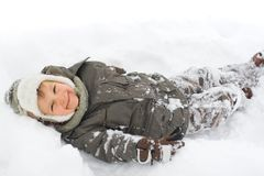 Jongen in Sneeuw royalty-vrije stock afbeelding