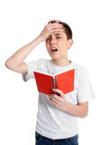Jongen of student - de spanning, fout, blundert Stock Afbeeldingen