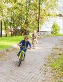 Jongen twee op fiets stock fotografie
