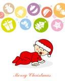 Jongen van de baby kleedde zich als Kerstman Stock Foto's
