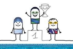 Jongen van de beeldverhaal de Zwemmende Kampioen op Podium met Kop stock illustratie