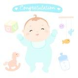 Jongen van de gelukwens de nieuwe gelukkige baby Vector Illustratie