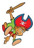 Jongen van het beeldverhaal kleedde zich als piraat Royalty-vrije Stock Afbeelding