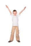 Jongen in witte overhemdshand omhoog Stock Afbeelding