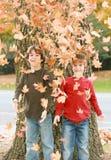 Jongens in de herfst Royalty-vrije Stock Afbeeldingen
