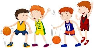 Jongens die basketbal op witte achtergrond spelen royalty-vrije illustratie