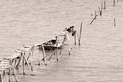 Jongens die in Kaspische Overzees op gebroken pijler vissen Stock Foto