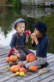 Jongens die met pompoenen en appelen zitten Royalty-vrije Stock Fotografie