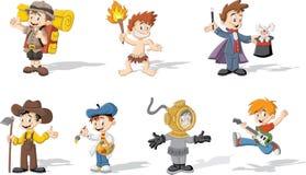 Jongens die verschillende kostuums dragen vector illustratie