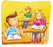 Jongens en meisjes aan de school vector illustratie