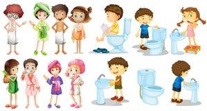 Jongens en meisjes in badjas stock illustratie