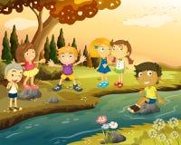 Jongens en meisjes door de rivier vector illustratie