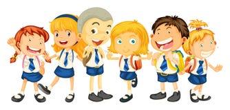 Jongens en meisjes in eenvormige school vector illustratie