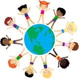Jongens en meisjes Europeanen, Afrikanen, Chinees, Japanner, Rus, vector illustratie
