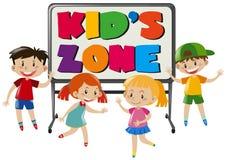 Jongens en meisjes in kid& x27; s streek vector illustratie