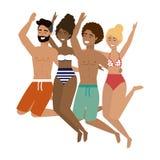 Jongens en meisjes met de zomer swimwear ontwerp stock illustratie