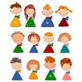 Jongens en meisjes. Reeks beeldverhaalkarakters Stock Foto