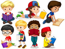 Jongens en meisjeslezingsboeken Stock Foto's
